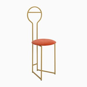 Joly IV Chairdrobe - High Back Gold Lacquered Metal Structure with Upholstered Seat in Orange Italian Fine Velvet