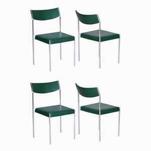 Leatherette Chrome Dining Chairs, 1950s, Set of 4