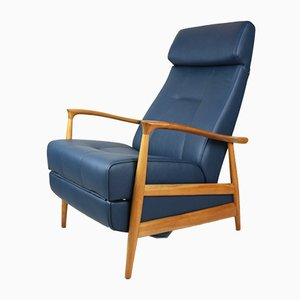 Vintage Blue Leather Folding Chair, 1970s