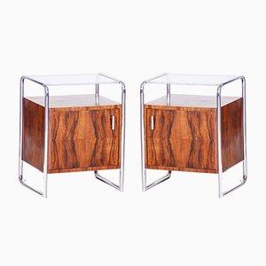 Bauhaus Walnut Side Tables from Mücke Melder, 1930s, Set of 2