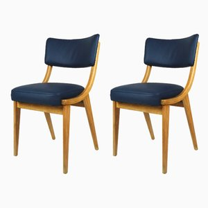Vintage Blue Leather Chairs, 1970s, Set of 2