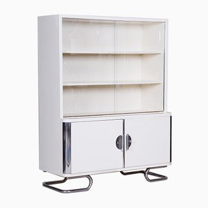 Vintage Bauhaus White Chrome Cabinet from Vichr and Spol., 1930s