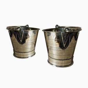Antique Brass Buckets, Set of 2