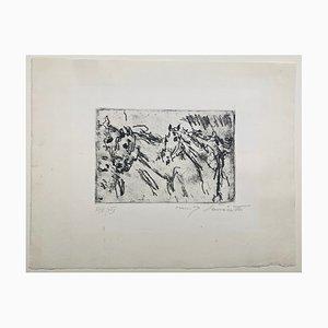 Gravure à l'Eau Forte Kutschpferde 1917 par Lovis Corinth, 1917