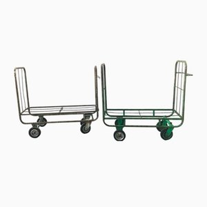 Mid-Century Industrial Style Trolleys, Set of 2