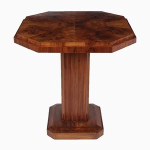 French Art Deco Walnut Wine Table with Fluted Column, 1920s