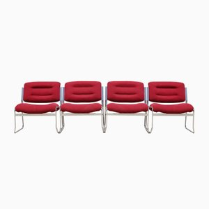 Space Age Chrome & Velvet Lounge Chairs, 1970s, Set of 4