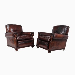 Antique Leather Club Chairs, Set of 2
