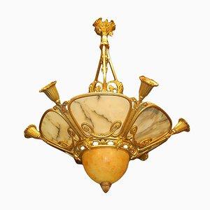 Art Deco in bronzo dorato e alabastro, anni '20
