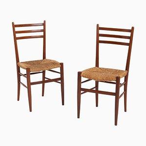Mid-Century Stühle aus Teak & Binse von Otto Gerdau, 2er Set