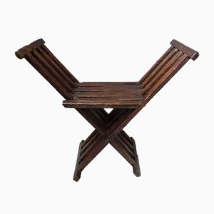 Antique Foldable Stool with Slats