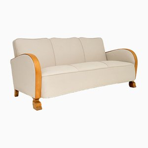 Swedish Art Deco Satin Birch Sofa, 1930s