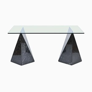 Postmodernist Nero Marquina Marble and Glass Top Table, 1970s