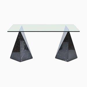 Tavolo Marquina postmodernista in marmo e vetro, anni '70