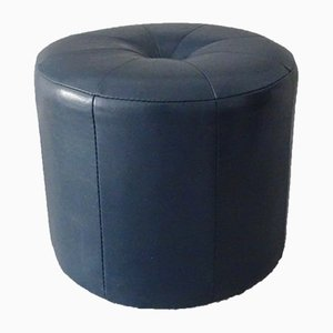 Blue Leather Ottoman, 1970s
