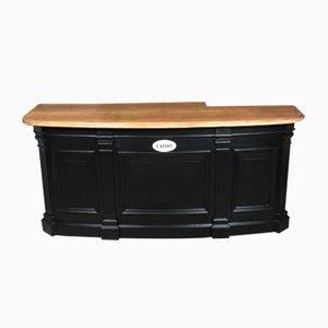 Vintage Oak Wood Veneer and Black Polished Cabinet