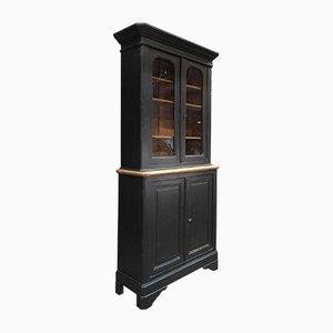 Libreria antica in legno di abete nero patinato