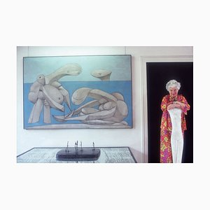 Peggy Guggenheim Oversize C Print Framed in Black by Slim Aarons