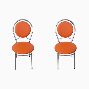 Orange Side Chairs, 1970s, Set of 2