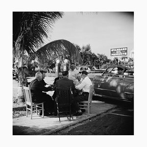 Florida Card Game Silver Fibre Gelatin Print Framed in Black by Slim Aarons
