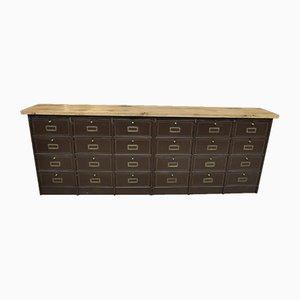 Mueble bajo largo con válvulas de metal de Roneo, años 50