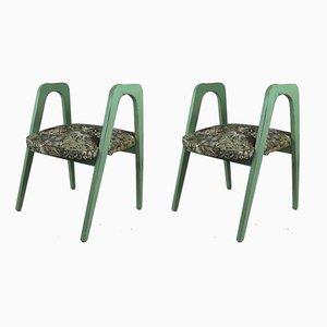 Grüne Vintage Blumenhocker, 2er Set