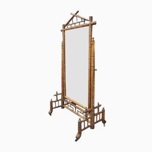 Miroir Art Nouveau Antique en Bois de Hêtre & Bambou