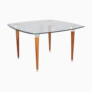 Mid-Century Modern Table with Murano Glass Top & Walnut Turned Legs and Heads