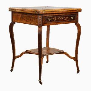 Spät Viktorianischer Kartentisch aus Palisander mit Umschlag