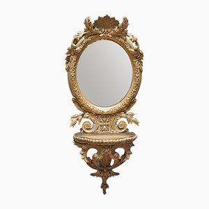 Ovaler vergoldeter Antik Spiegel Verzierter Gesso Spiegel