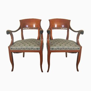 Chairs with Empire Style Carved Lions, 1980s, Set of 2