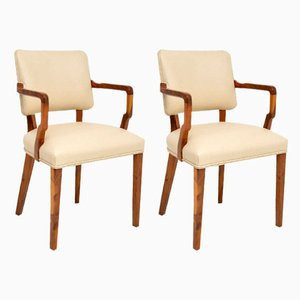 Vintage Art Deco Walnut Armchairs, 1920s, Set of 2