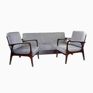 Divano vintage con due sedie, set di 3