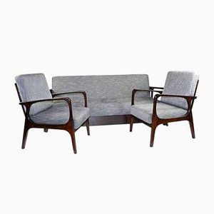 Vintage Sofa & 2 Chairs, Set of 3