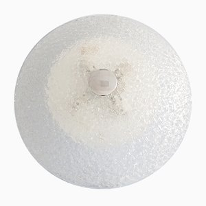 Large Round Frosted Glass Ceiling Lamp from Honsel, 1970s