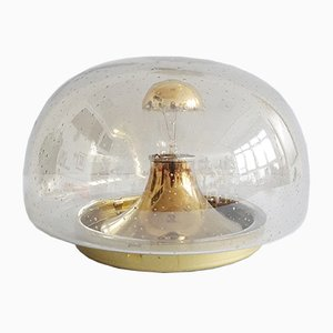 Light Gold Smoked Glass Ceiling Lamp, 1970s