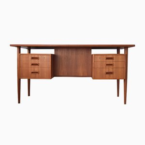 Mid-Century Danish Teak Executive Floating Desk, 1960s