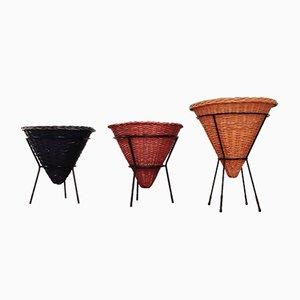 Mid-Century Colored Wicker or Rattan Baskets by Dirk van Sliedregt for Rohé Noordwolde, Set of 3