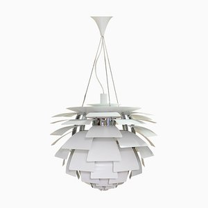 Lampada da soffitto PH Artichoke Mid-Century bianca di Poul Henningsen per Louis Poulsen