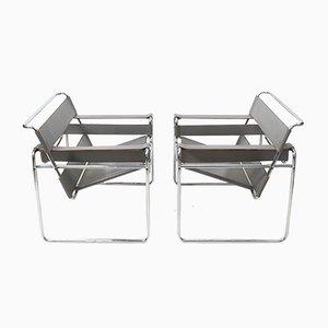 Graue Leder Wassily Stühle von Marcel Breuer für Knoll Inc. / Knoll International, 1980er, 2er Set