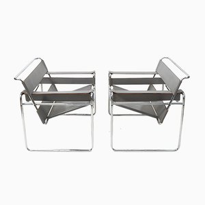 Grey Leather Wassily Chairs by Marcel Breuer for Knoll Inc. / Knoll International, 1980s, Set of 2