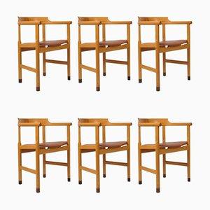 Chaises de Salon en Cuir Tanné par Hans J. Wegner pour PP Møbler, 1970s, Set de 6