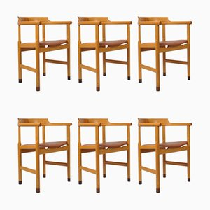 Sedie da pranzo in pelle di Hans J. Wegner per PP Møbler, anni '70, set di 6