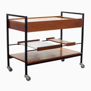 Pastoe, Braakman, Japanese-Style Minimalistic Teak and Steel Bar Cart