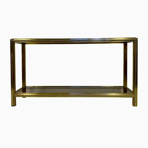 Italian Brass and Chrome Console Table by Romeo Rega, 1970s