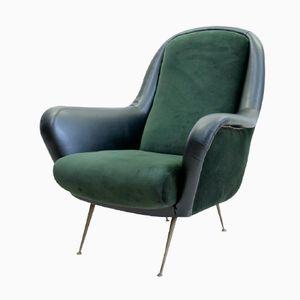 Grünblauer Mid Century Sessel, Italien, 1950er