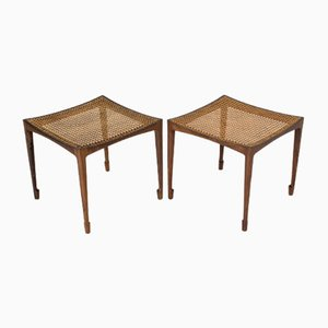 Rosewood & Rattan Stools by Bernt Petersen for Wørts Møbelsnedkeri, 1950s, Set of 2