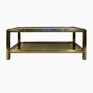 Italian Brass and Chrome Coffee Table by Romeo Rega, 1970s