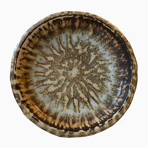 Stoneware Dish with Taupe Glaze by Gunnar Nylund for Rörstrand, 1960s