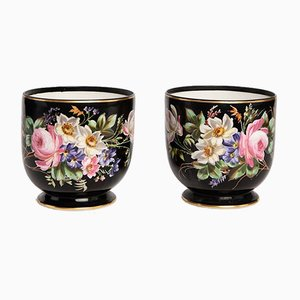 French Napoleon III Porcelain Vases, Set of 2
